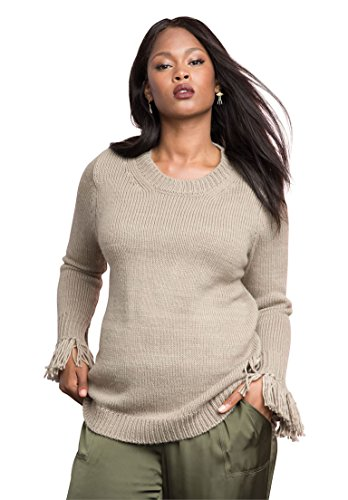 Womens-Plus-Size-Fringed-Sleeve-Sweater