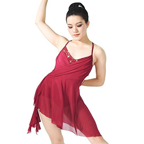 MiDee Camisole V-neck High-low Lyrical Dress Latin Dance Costume (SA, Wine) (Dance Costumes For Competition Lyrical)