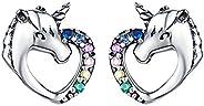 Presentski Unicorn Stud Earrings 925 Sterling Silver Hypoallergenic Piercing Earrings Studs Cute Animal Christ