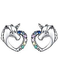 Presentski Unicorn Stud Earrings 925 Sterling Silver Hypoallergenic Piercing Earrings Studs Cute Animal Christmas Birthday Gifts for Girls Women