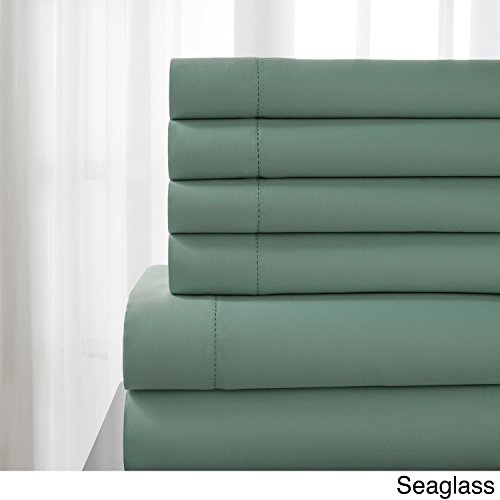 Delray Glass (Elite Home Products DelRay 600 Thread Count Hemstitch Solid Sheet Set Seaglass California King)