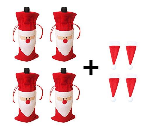 Misula 4Pcs Christmas Santa Claus Wine Bottle Cover Bags + 4Pcs Mini Santa Hat Tableware Cutlery Holders Bottle ()