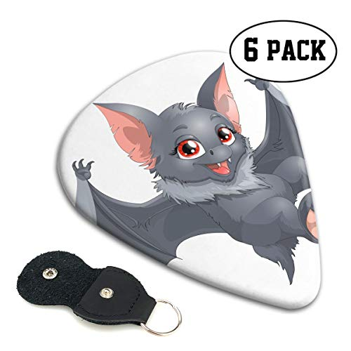 Nice Music Halloween Bat Cartoon Cute Girl Grey White Ultra Thin 0.46 Med 0.71 Thick 0.96mm 6 Pieces Each Base Prime Celluloid Ivory Jazz Mandolin Bass Ukelele Plectrum Guitar Pick Pouch Display]()