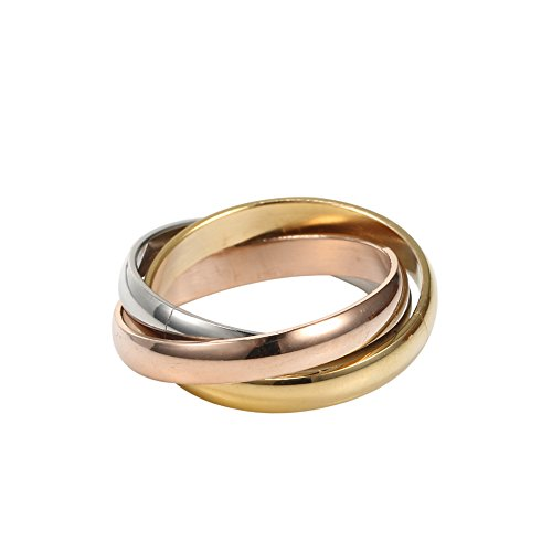 - New Jewelry Stainless Steel Tri Color Silver, Gold,Rose,Tone Interlocked Rolling Wedding Band Ring for Women (8)