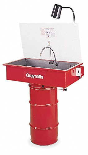 - Graymills DMD232 Drum Mounted Solvent Parts Washer, 16 g with Retractor Cable and Light, 115V, 1 Phase, Red
