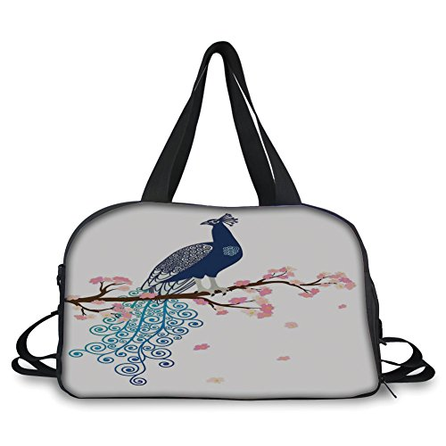iPrint Travel Handbag,Peacock Decor,Illustration of Abstract Peacock on Blossom Tree Branch Ornate Summertime, ,Personalized (Toy Stroller Blossom)
