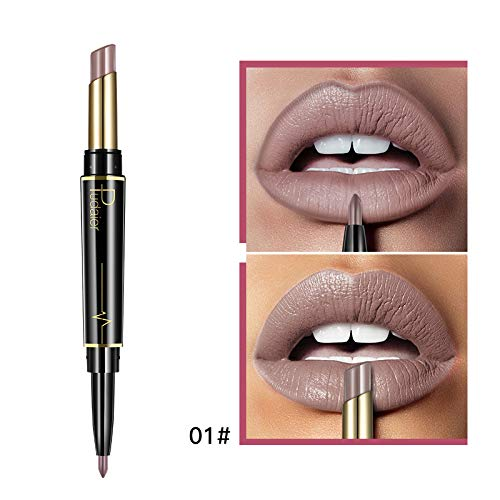 - Matte Lipstick Wateproof Double Ended Long Lasting Lipsticks Lip Makeup Cosmetics Nude Dark Red Lips Liner Pencil 01