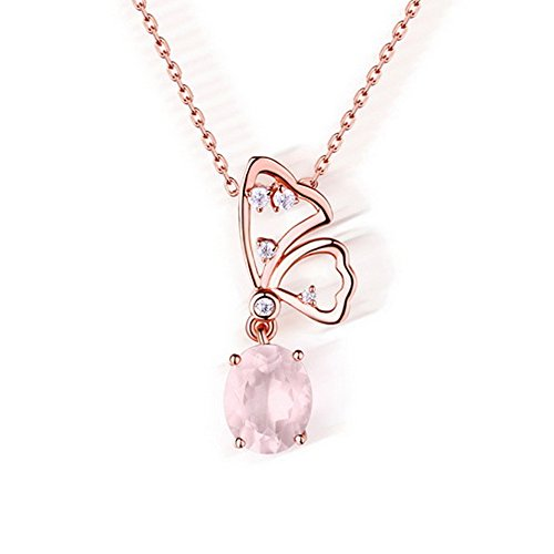 HALOQUEEN 3.0CT Oval Cut Natural Purple Amethyst &Rose Quartz Butterfly Pendant Necklaces For Women Solid 925 Sterling Silver Jewelry (Rose Quartz Butterfly Necklace)