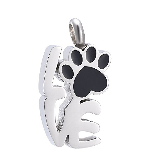High Grade Stainless Steel Pet Paw Design Pendant Collection Urn Necklace Memorial Jewelry for Dog Cat (Silver and Black) (Pendant Steel Collection Stainless)