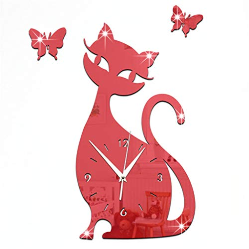 - Zdtxkj Wall Clock 35X32Cm Cute Cat Butterfly Mirror Red Wall Clock Modern Design Home Decor Watch Wall Sticker Drop Ship