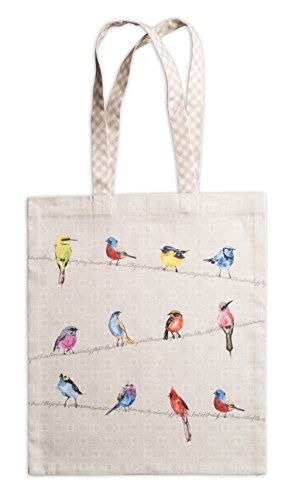 Maison d' Hermine Birdies On Wire 100% Cotton Tote Bag 14 Inch by 17 - Bird Tote