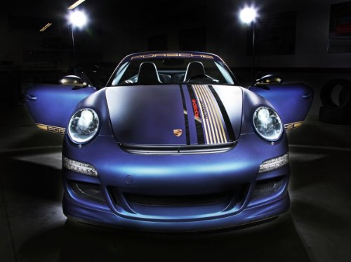 Cabrio Carreras Porsche - Classic and Muscle Car Ads and Car Art Porsche 997 Carrera Cabrio by Cam Shaft (2014) Car Art Poster Print on 10 mil Archival Satin Paper Blue Front Closeup Static View 20