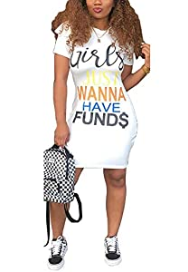 LAJIOJIO Women's Summer Short Sleeve Letter Print T-Shirt Loose Dress Pockets