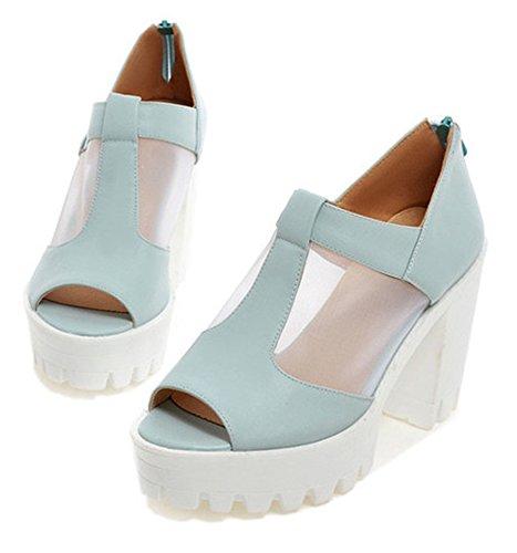 Easemax Kvinna Sexig Peep Toe Dragkedja Tjock Hög Klack Plattform Urholka Mode Sandaler Blå
