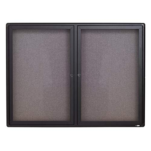 (Quartet Enclosed Fabric Bulletin Board, 4 x 3 Feet, 2 Doors, Black Frame with Gray Fabric (2364L))