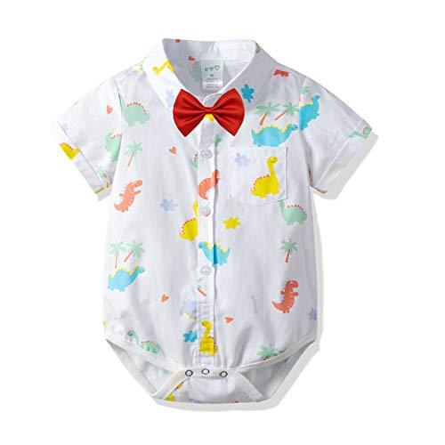 Carlatar Newborn Baby Boys Romper Clothes Animals Print Short Sleeve Onesies Bodysuit Jumpsuit (Dinosaur, 12-18 M/90) ()