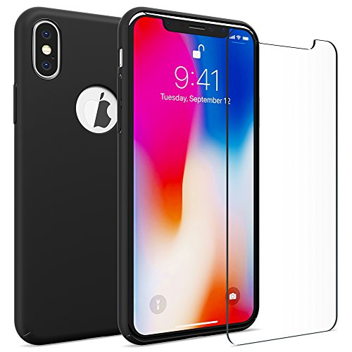 iPhone X case, FlexGear 360 Slim Hard Case w Soft Touch Coating + Glass Screen Protector (Matte Black)