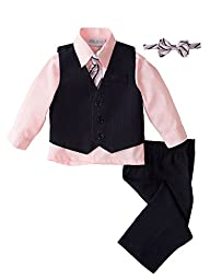 Spring Notion Baby Boys\' 5 Piece Pinstriped Vest Set Pink Size 2T