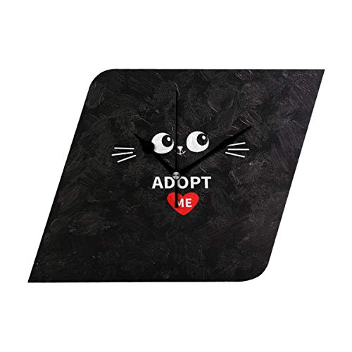 Bush August Modern Creative Wall Clock Diamond Easy to Read & Hang Home/Office/School Funny Clock,Decorative for Kitchen, Living Room, Bedroom Adopt Me Heart Love Cat Specialty -