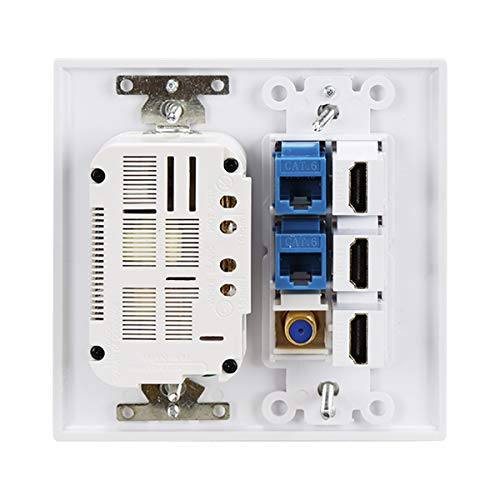 Outlet Wallplate USB Charger,2 Power Outlet 15A with Dual 3.6A USB Charger Port Wall Plate with LED Lighting, 3 HDMI HDTV + 1 CAT6 RJ45 Ethernet + Coaxial Cable TV F Type Keystone Face Plate White