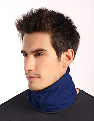 Tough Headwear Reversible Microfiber Fleece Gaiter Tube Neck Warmer (Solids) - Navy Blue