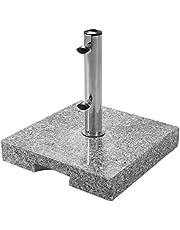 Doppler Granieten sokkel 25 kg - hoogwaardige parasolstandaard met roestvrijstalen buis - vierkant - 37cmx38cmx5.5 cm