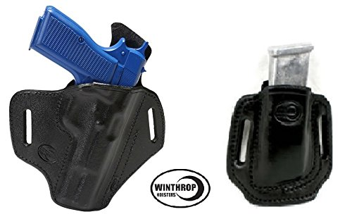 0692 AND 0019 - Browning Hi - Power 4.7 inch OWB Shield Holster AND Double Stack Magazine Holder R/H Black