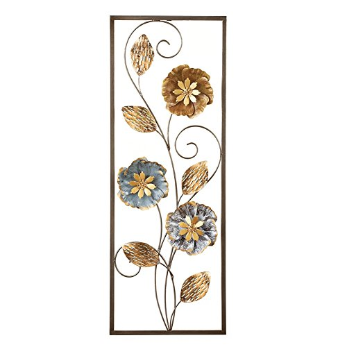 Flowers and Leaves Dimensional Metal Wall Décor