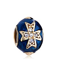 Blue Celtic Cross Clear Crystal Faberge Egg Charm Sale Cheap Jewelry Beads Fit Pandora Bracelets