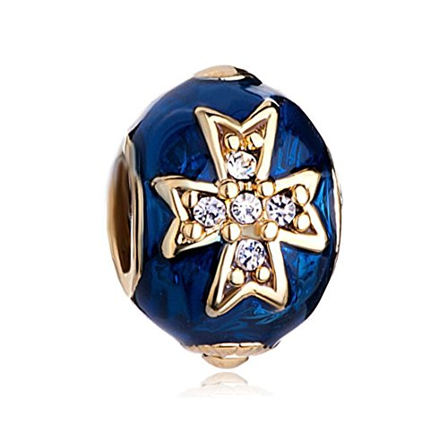 CharmSStory Blue Celtic Cross Clear Synthetic Crystal Faberge Egg Charm Beads For Bracelets