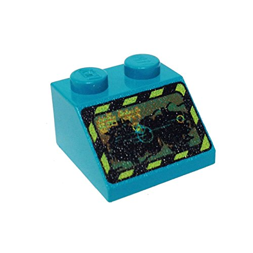 Lego Parts: Slope 45º 2 x 2 Decorated with Rock Raiders Pattern (Dark Turquoise)