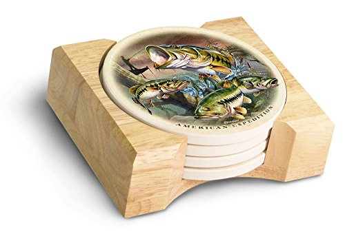 (American Expedition Bass Collage Stone Coaster Set, Multicolor)