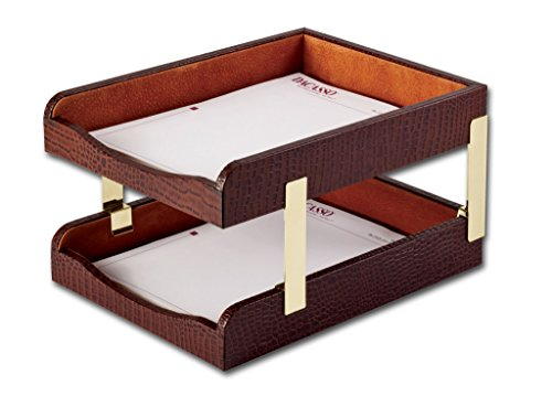 (Dacasso Crocodile Embossed Leather Double Letter Trays, Brown)