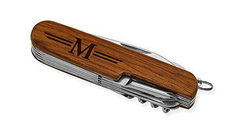 Dimension 9 Initial M or Monogram M 9-Function Multi-Purpose Tool Knife, Rosewood