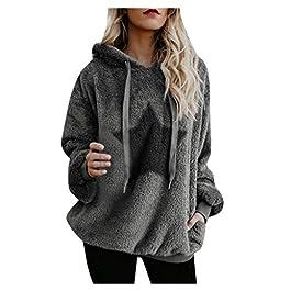 IFOUNDYOU 2020 Sweatshirt Hoodies Women Warm Fluffy Top Hoodie Sweatshirt Ladies Pullover Jumper Hoodie Long Sleeve Zipper Pocket Loose Plus Size Fleece Hooded Hoodies Women
