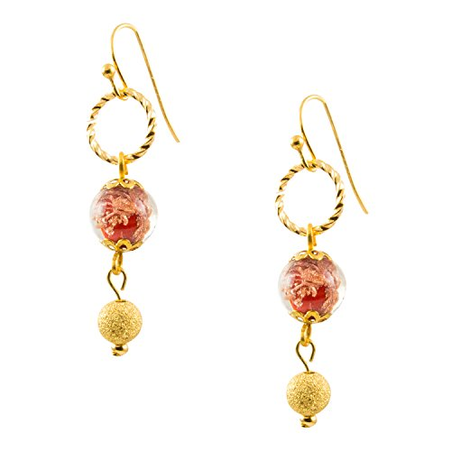 (Just Give Me Jewels Genuine Venice Murano Sommerso Aventurina Red Glass Bead Dangle Earrings with Gold Plated Circles)