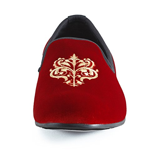 Journey West Mens Vintage Velvet Embroidery Noble Loafer Shoes Slip-On Loafer Smoking Slipper Black/Red/Blue Red cslIx4MY