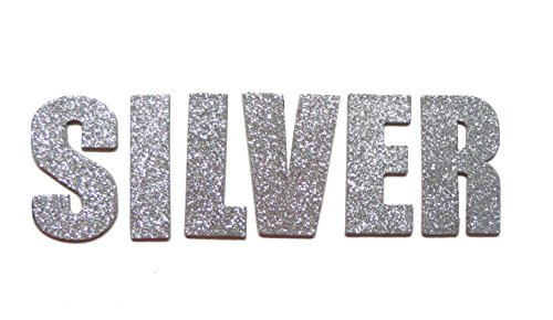 Silver Metallic Glitter HandCut Chipboard Letters Alphabet set Sickers Impact 2