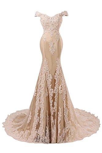 JAEDEN Formal Mermaid Evening Dresses For Wedding Lace Prom Party Dress Gown Off Shoulder Elegant Champagne US24W by JAEDEN