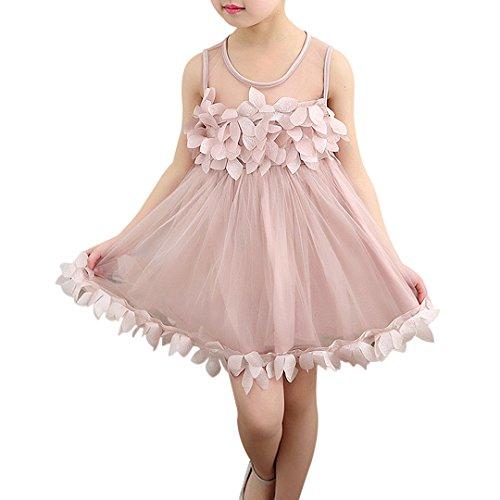 Multifit Baby Girl Sleeveless Tulle Petal Dress Princess Party Dress(Pink M)
