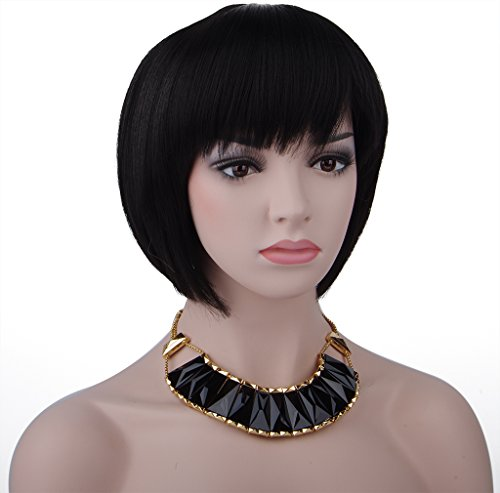 Black Box Wine Halloween Costume (Spretty Women's Black Short Straight Bob Wig for Costume Cosplay and Daily Dress)