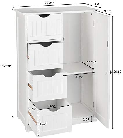 Amazon Com Mokylor Free Standing Storage Cabinet Bathroom Cabinet With Single Door And 4 Drawers 21 7x11 8x31 9 Inch White Kitchen Dining