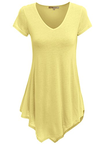 Doublju V-Neck Handkerchief Hem Long Tunic Shirt Top for Women with Plus Size Yellow Small