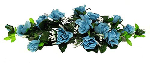 Rose Swag Aqua/Teal/Turquoise, 2 ft Silk Wedding Flowers Arch Gazebo Centerpiece Tkaffor from Unknown