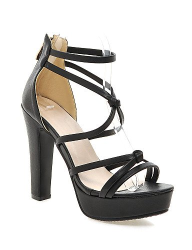 LFNLYX Zapatos de mujer-Tacón Robusto-Tacones / Plataforma-Sandalias-Vestido / Casual / Fiesta y Noche-Semicuero-Negro / Rosa / Blanco / White