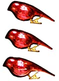 Tag Glass Bird Clip-on Christmas Ornaments, Set of 3, Red
