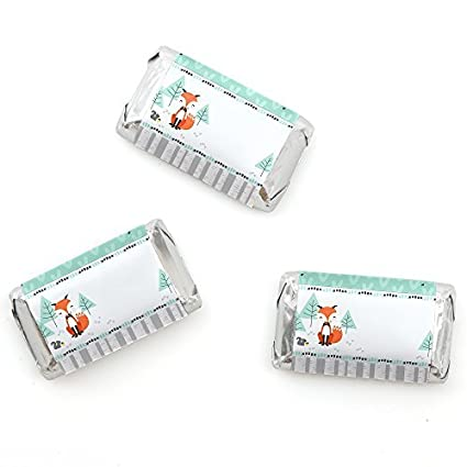 cf86089f16 Amazon.com: Big Dot of Happiness Mr. Foxy Fox - Mini Candy Bar Wrappers Baby  Shower or Birthday Party Favors - 20 Count: Toys & Games