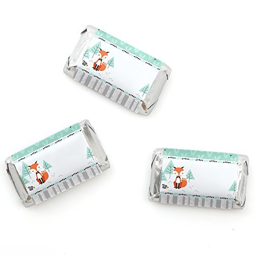 (Big Dot of Happiness Mr. Foxy Fox - Mini Candy Bar Wrappers Baby Shower or Birthday Party Favors - 20)