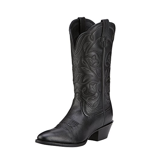 Ariat Women's Heritage Western R Toe Western Cowboy Boot, Black Deer Tan, 7.5 B US