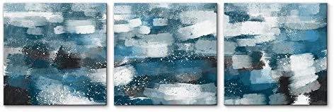 3 Panel Teal Blue Abstract Pictures Home Wall for Bedroom Living Room Paintings Framed x3 Panels